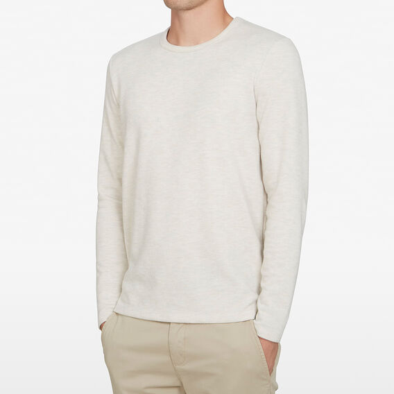 BRUSHED WAFFLE LONG SLEEVE T-SHIRT  OATMEAL MARL  hi-res