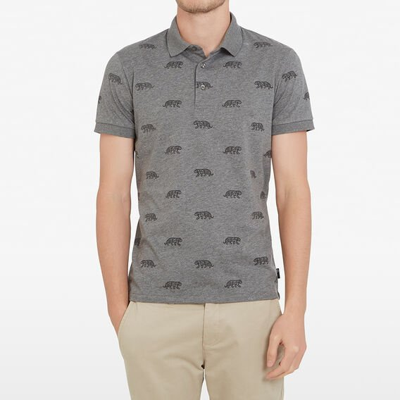 FLOCKED TIGER POLO  GREY MARL  hi-res
