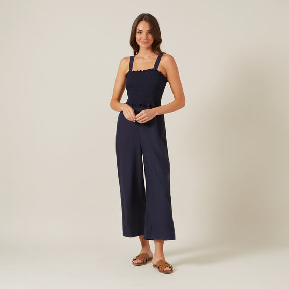 SHIRRED JUMPSUIT  NAVY  hi-res