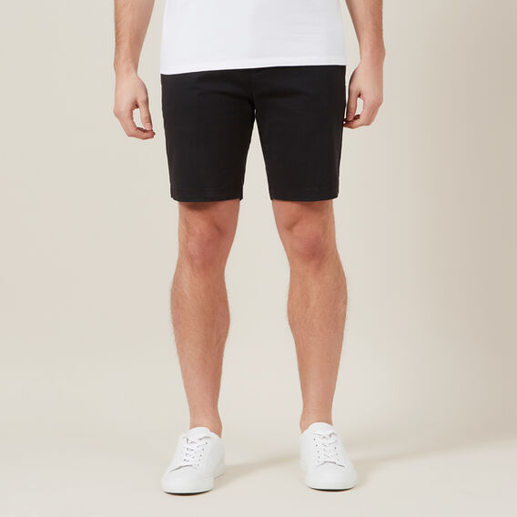 SLIM-FIT STRETCH CHINO SHORT  BLACK  hi-res