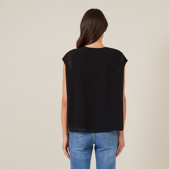 SPLICED RELAXED T-SHIRT  BLACK  hi-res
