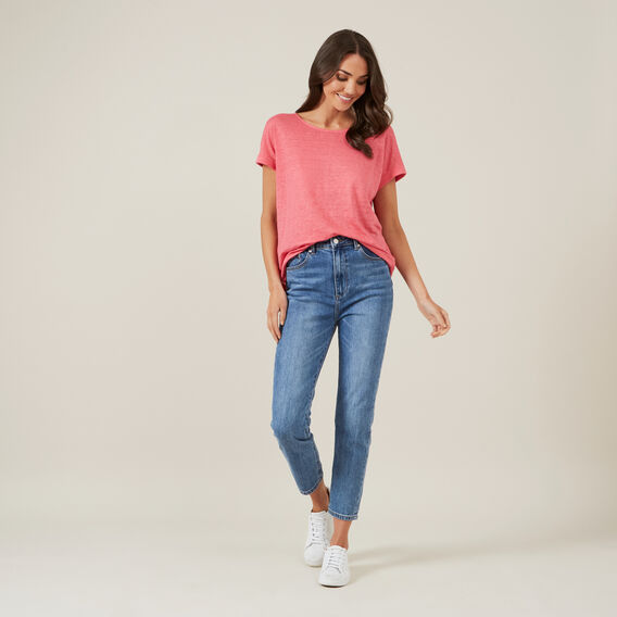 LINEN RELAXED TEE  PINK  hi-res