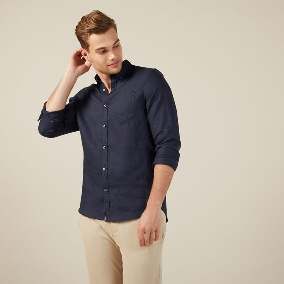 LINEN L/S CLASSIC FIT SHIRT  OXFORD BLUE  hi-res