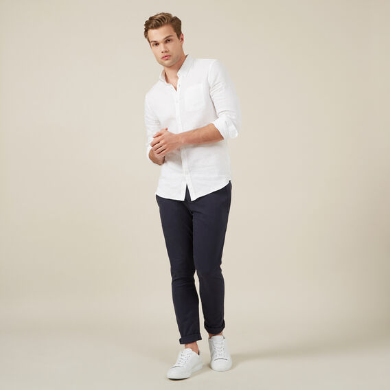 LINEN L/S CLASSIC FIT SHIRT  WHITE  hi-res