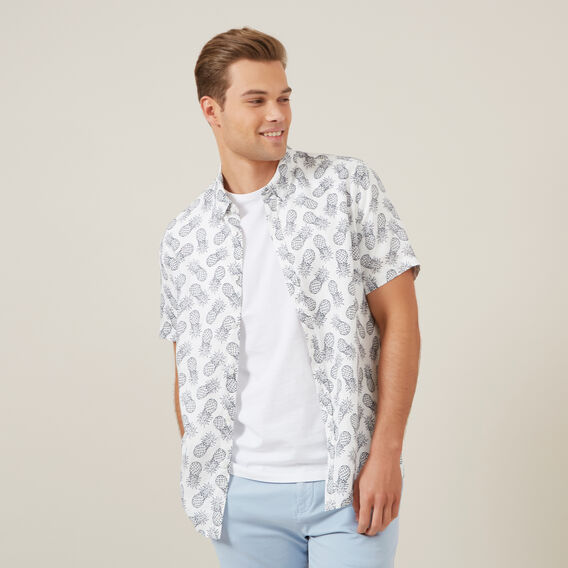 PINEAPPLE LINEN CLASSIC FIT SHIRT  WHITE  hi-res