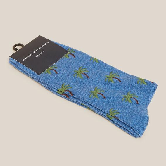 BLUE PALM TREE 1PK SOCKS  BLUE MARL  hi-res