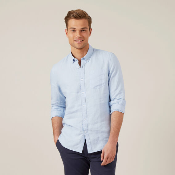 LINEN L/S CLASSIC FIT SHIRT  PALE BLUE  hi-res