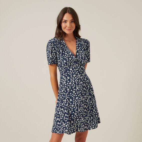 FLORAL MINI TEA DRESS  NAVY/OFF WHITE  hi-res
