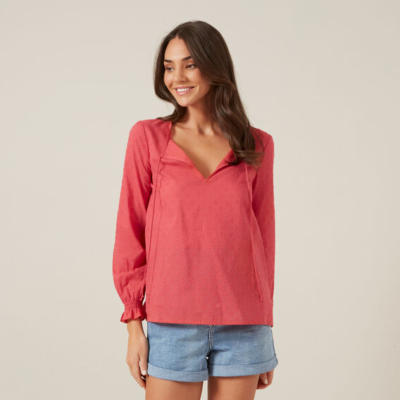 DOBBY RELAXED SHIRT  WASHED RED  hi-res