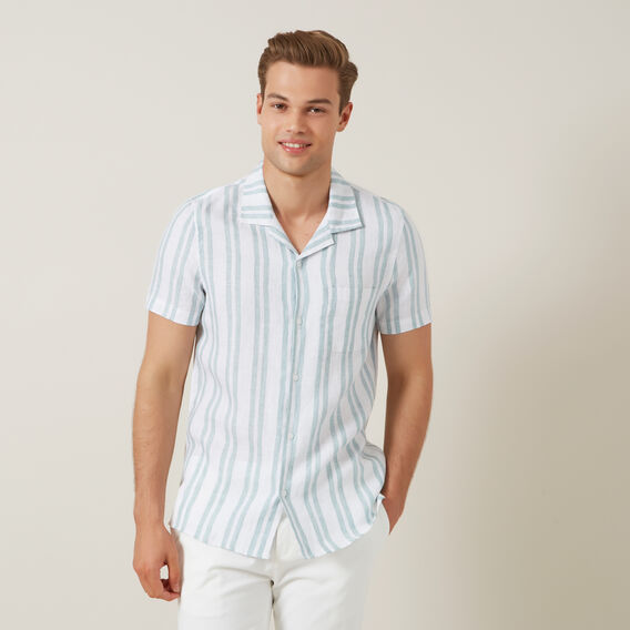 STRIPE LINEN CLASSIC FIT SHIRT  WHITE/SPEARMINT  hi-res