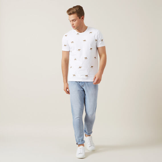 ALL OVER CHEETAH T-SHIRT  WHITE  hi-res