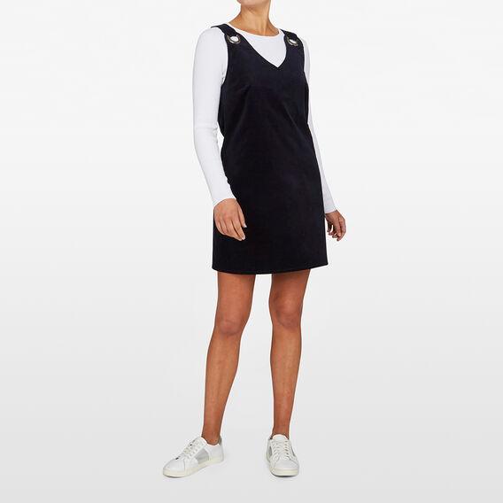 CORD PINAFORE SHIFT DRESS  NAVY  hi-res