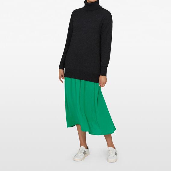 SPLICED SWEATER DRESS  CHARCOAL/GREEN  hi-res