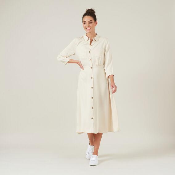 BUTTON DOWN SHIRT DRESS  OATMEAL  hi-res