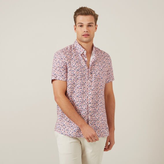 TOUCAN LINEN S/S CLASSIC FIT SHIRT  PINK  hi-res