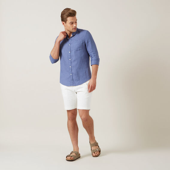 LINEN L/S CLASSIC FIT SHIRT  WASHED CORNFLOWER BL  hi-res