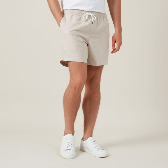 LINEN ELASTICATED SHORT  OATMEAL MARL  hi-res