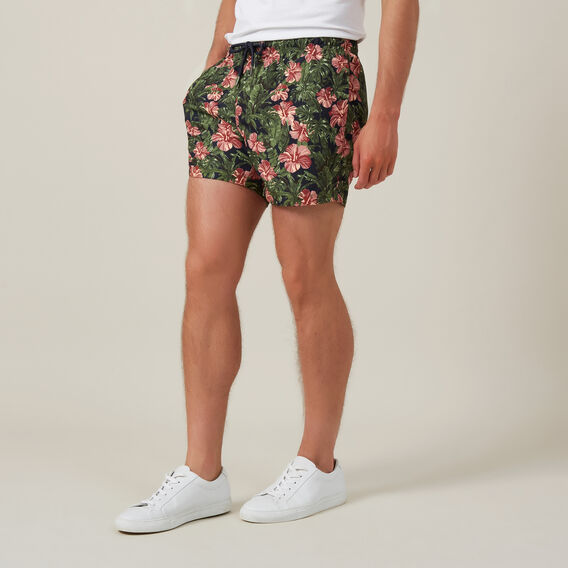 ALOHA FLORAL SWIM SHORT  MARINE BLUE  hi-res