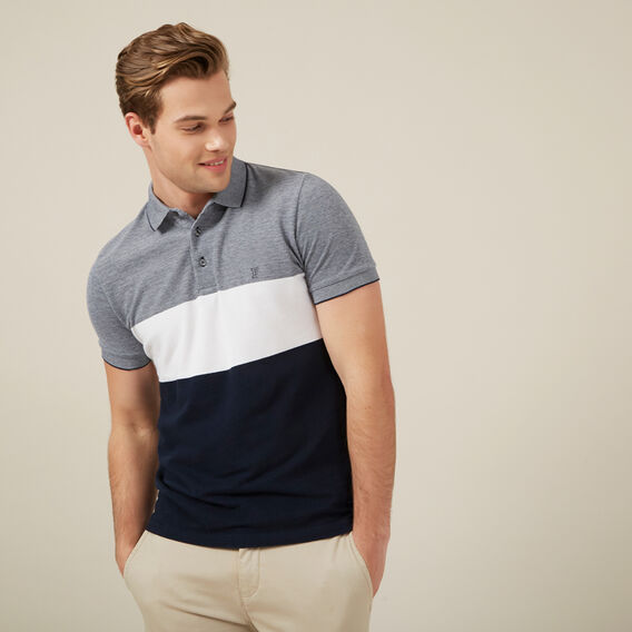 BLOCK STRIPE POLO  MARINE/WHITE/MARINE  hi-res