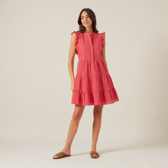 MINI DOBBY DRESS  WASHED RED  hi-res
