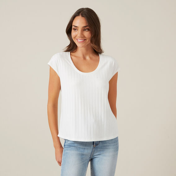 RIBBED SLEEVELESS TEE  OFF WHITE  hi-res