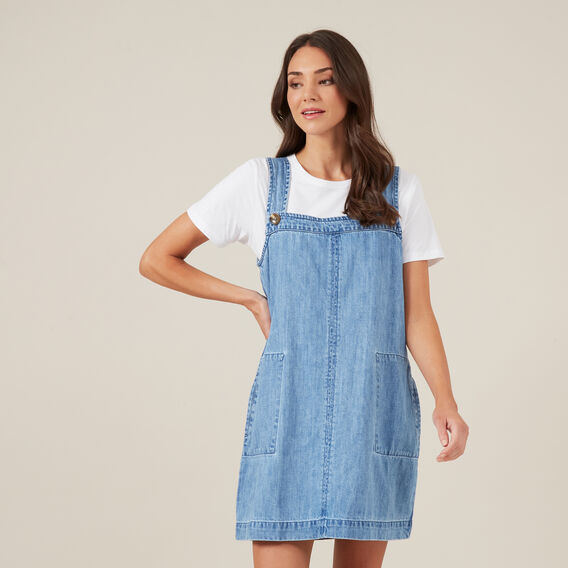 DENIM PINAFORE  LT VINTAGE  hi-res