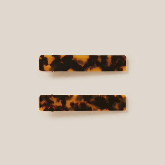 TORT SLIDE HAIR CLIPS  TORT/GOLD  hi-res