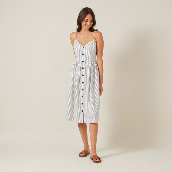 BUTTON DOWN STRIPE MIDI DRESS  NAVY/WHITE  hi-res