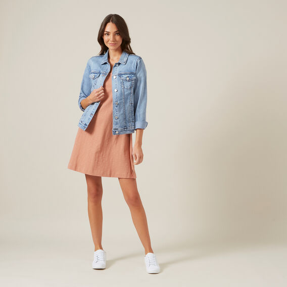 A-LINE RELAXED TEE DRESS  RUST  hi-res
