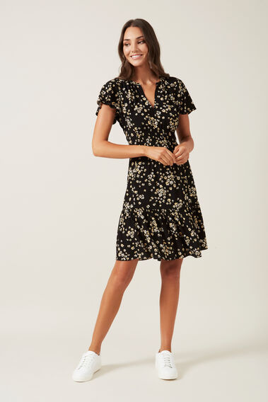 RETRO DITSY PRINT MINI DRESS  MULTI  hi-res