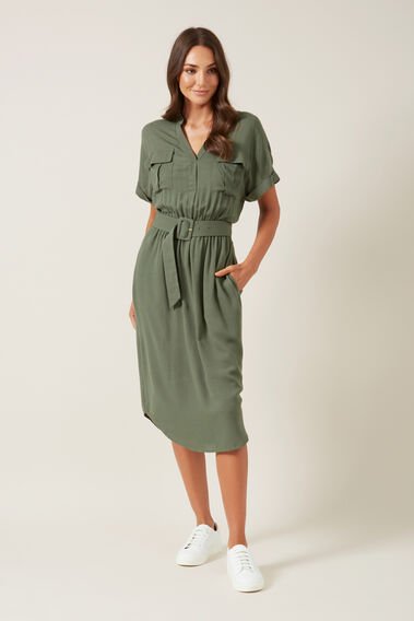 UTILITY SHIRT DRESS  KHAKI  hi-res