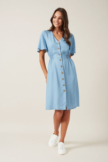 BUTTON THROUGH MIDI DRESS  CHAMBRAY  hi-res