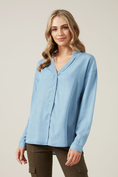 OVERDYED RELAXED SHIRT  CHAMBRAY  hi-res