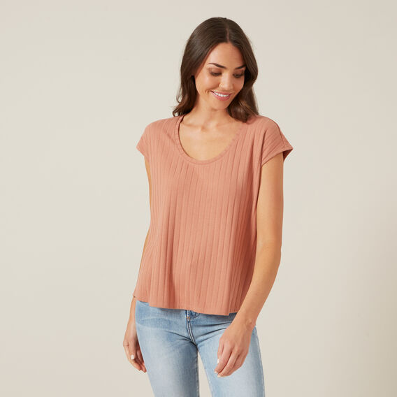 RIBBED SLEEVELESS TEE  WASHED RUST  hi-res