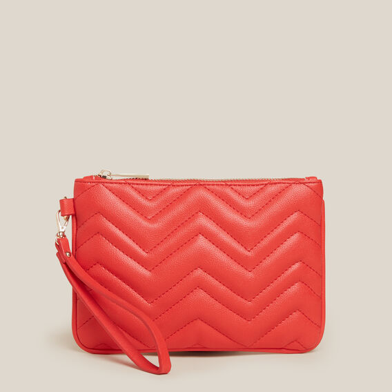 QUILTED POUCH  RED  hi-res