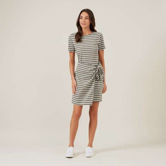 JERSEY STRIPE WRAP DRESS  KHAKI/WHITE  hi-res