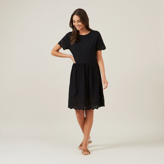 BRODERIE JERSEY DRESS  BLACK  hi-res