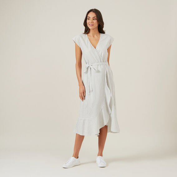 STRIPE WRAP MIDI DRESS  KHAKI/OFFWHITE  hi-res