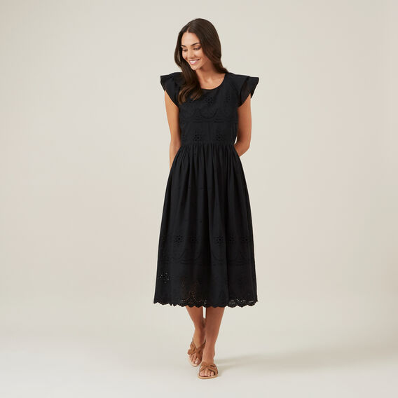 BRODERIE MIDI DRESS  BLACK  hi-res