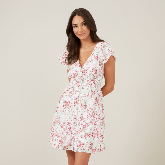 FLORAL TEA DRESS  PINK/OFF WHITE  hi-res
