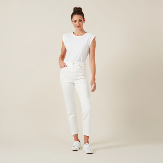 HIGH WAIST WHITE JEAN  WHITE  hi-res