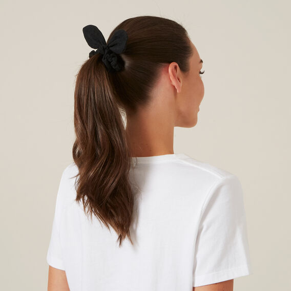 BRODERIE HAIR SCRUNCHIE  BLACK  hi-res