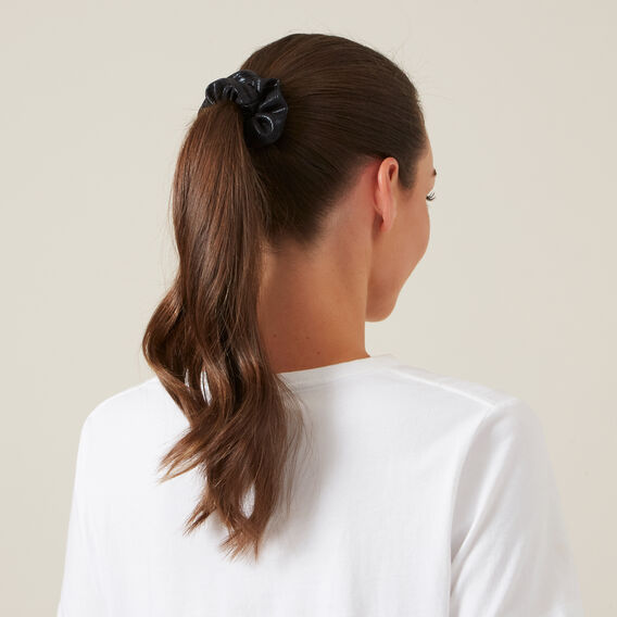 METALLIC HAIR SCRUNCHIES SET  BLACK/PEACH  hi-res