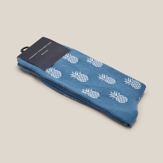 PINEAPPLE 1PK SOCKS  STEEL BLUE  hi-res