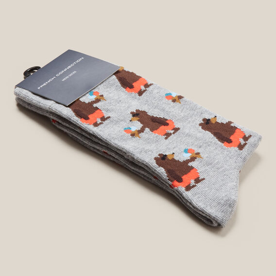 BEACH BEAR 1PK SOCKS  GREY MARL  hi-res