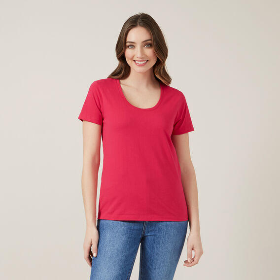 CLASSIC SCOOP NECK TEE  PINK  hi-res