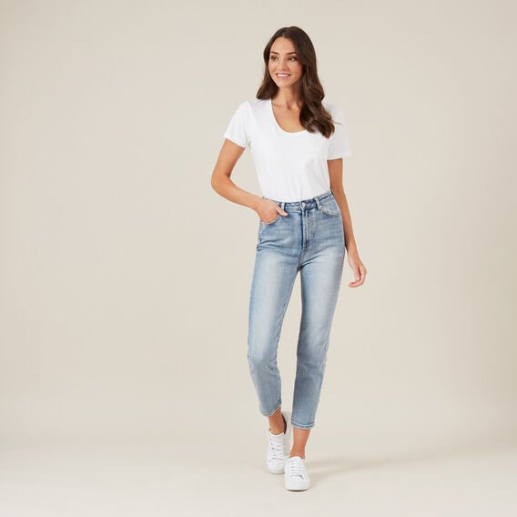 CLASSIC SCOOP NECK TEE  WHITE  hi-res