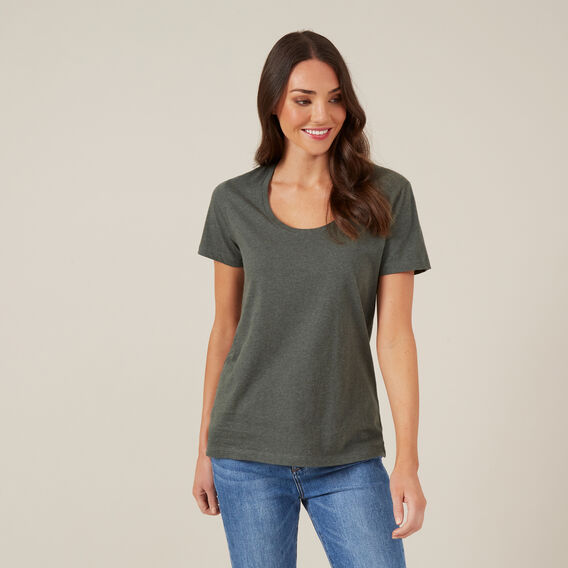 CLASSIC SCOOP NECK TEE  KHAKI MARL  hi-res