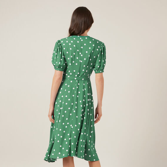 SPOT PRINT DRESS  SPRING GREEN SPOT  hi-res