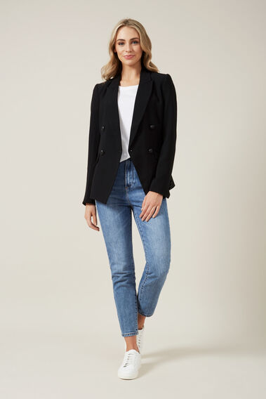 DOUBLE BREASTED BLAZER  BLACK  hi-res